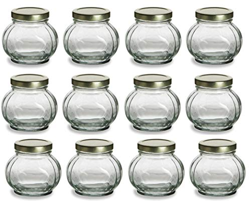 Nakpunar 12 pcs 8 oz Round Faceted Glass Jars with Label Panel and Gold Lids - Spherical (8 oz, Gold)