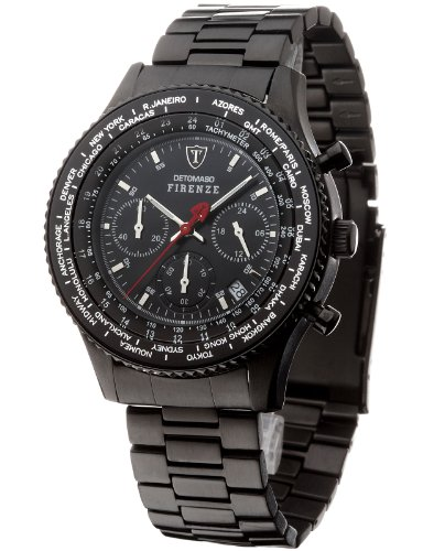 DETOMASO Men's SM1624C-BK FIRENZE Chronograph Trend schwarz/schwarz Analog Display Japanese Quartz Black Watch