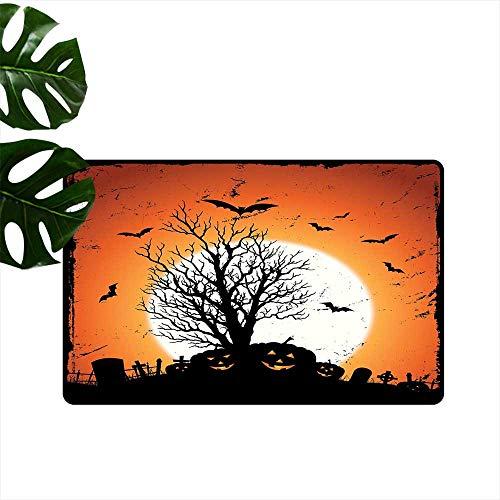Anzhutwelve Vintage Halloween,Mats Grunge Halloween Image with Eerie Atmosphere Graveyard Bats Pumpkins Outside Door mats W 24
