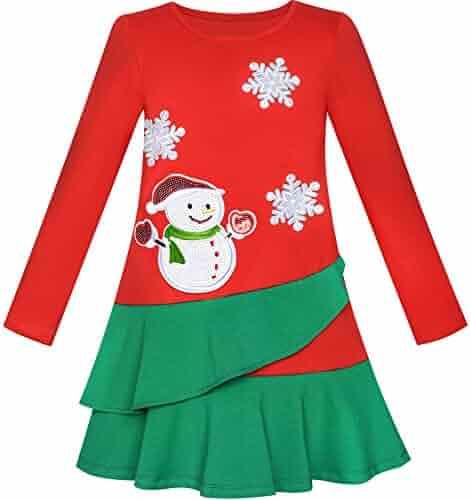 3b420aa839025 Sunny Fashion Girls Dress Long Sleeve Christmas Snowman Holiday Party Size  5-12