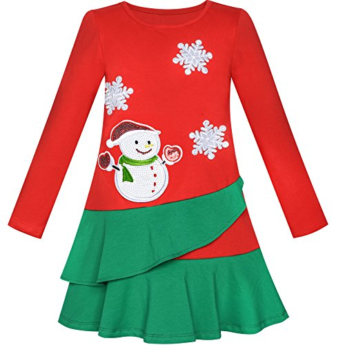 (LN25 Girls Dress Long Sleeve Christmas Snowman Holiday Party Size)