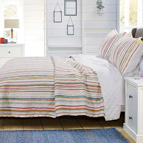 3 Piece Mid-Century White Quilt King Size, Beautiful Golden Sunset Stripe Beach Look Bedding Set, Modern Contemporary Style Charming Lemon Green Blue Ribbons Printed Pattern Reversible Bed Sets Decor