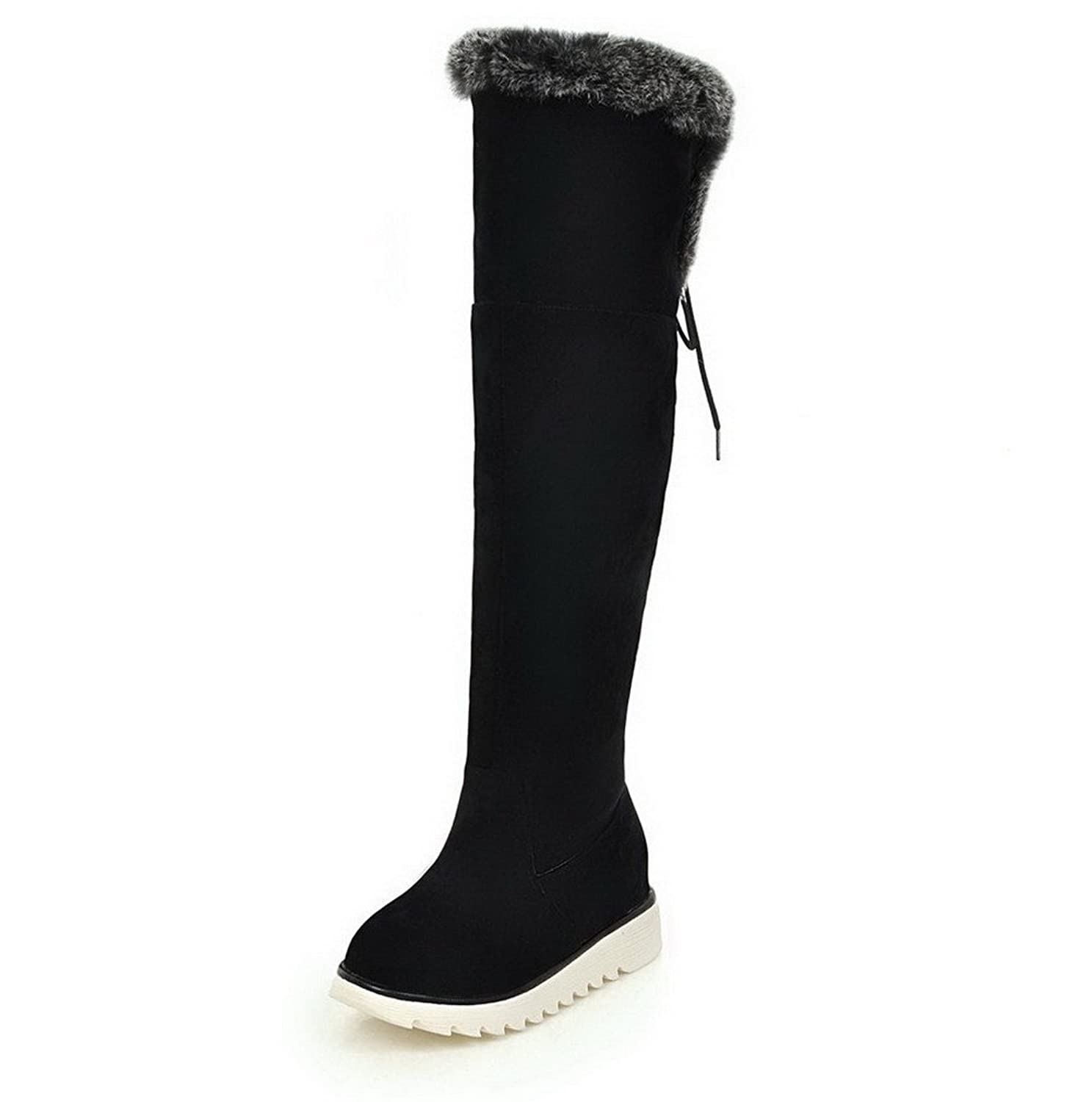 AllhqFashion Women's High-Top Solid Lace-Up Round Closed Toe Kitten-Heels Boots