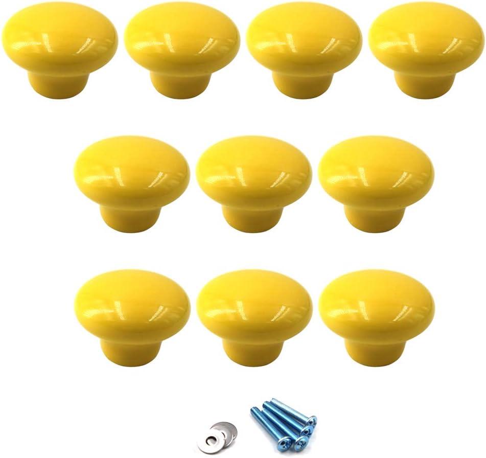 Amarillo Perillas redondas de cer/ámica Tirador de la manija de la perilla del gabinete para los cajones del tocador de la habitaci/ón infantil paquete de 10 tornillos incluidos