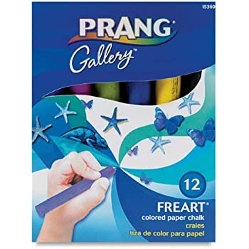 "Prang Freart Colored Paper Chalk, Large, Round Tapered Sticks, 1 x 4"", 12 Sticks per Box, 12 Assorted (15360)"