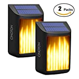 CINOTON Solar Wall Lights, Waterproof Flickering Flame Lights Dark Sensor Step Deck Lamps Wall Mounted Night Lights Dusk to Dawn Landscape Lighting for Outdoor Garden Driveway Pathway Stairs Fence(2)