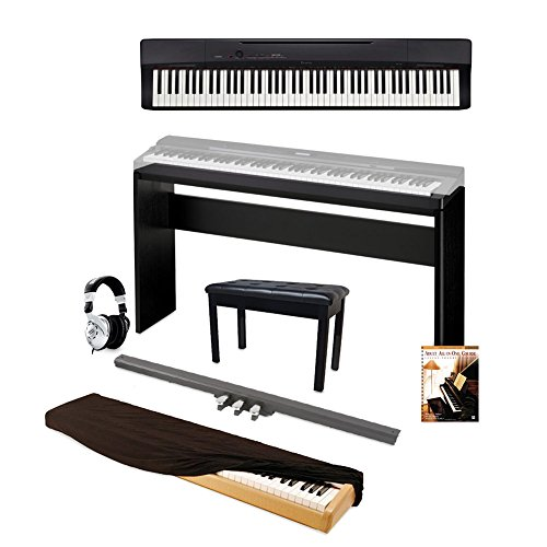 Casio Privia PX160BK 88-Key Full Size Digital Piano with Piano Bench, Black and Keyboard Pedals, Stand and Dust Cover and Adult All-In-One Course: Lesson-Theory-Technic: Level 1