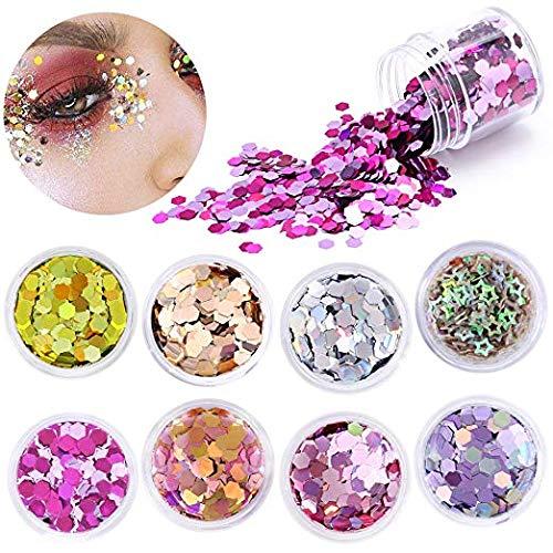 Konsait 8 Color Purpurina para la Cara, Hexagonal Brillos cosmético de Decoración para Cabello y Uñas