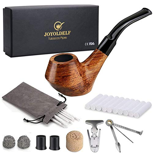 Joyoldelf Creative Wooden Smoking Pipe Set with Gift Box, Rosewood Pipe with Pipe Cleaners and Other Smoking Accessories ()