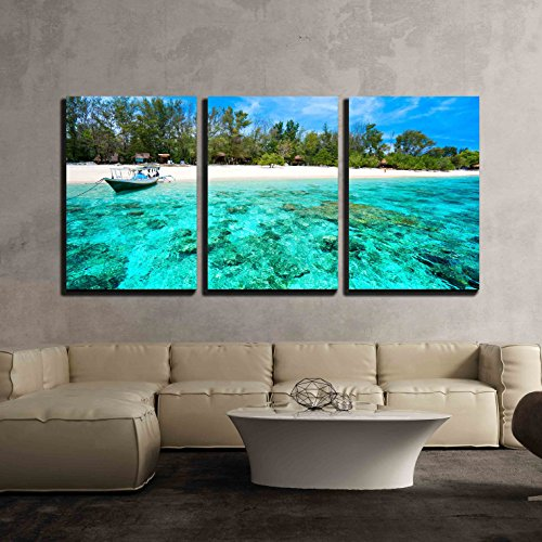 - wall26 - 3 Piece Canvas Wall Art - Beautiful Sea and Coastlines of Gili Meno, Indonesia. - Modern Home Decor Stretched and Framed Ready to Hang - 24