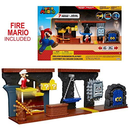 "Nintendo Super Mario Dungeon Deluxe Play Set, Includes: 2.5"" Fire Mario Figure & 7 Interactive Environmentpiece Moving Platforms & Thwomp, Spinning Fire Balls, Hidden Coin, Swing, & Door"