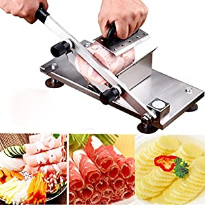 Frozen Meat Slicer Cutting Manual Control, Stainless Steel Meat Cutter Meatloaf Beef Mutton Rolls Sheet Slicing Machine, Meat Cleavers Cheese Vegetable Food Slicer for Home Kitchen and Commercial Use