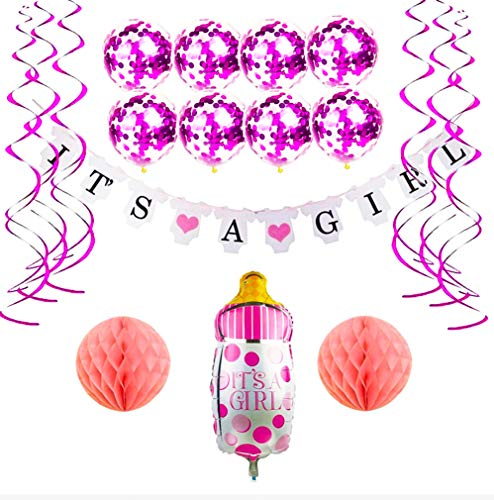Baby Shower Decorations Girl - It 's a Girl Shower Letter Banner, Pink Confetti Balloons, Foot Shape Balloon, Swirls Hanging, Honeycomb Paper Ball, Easy to Decor for Princess Shower Party -