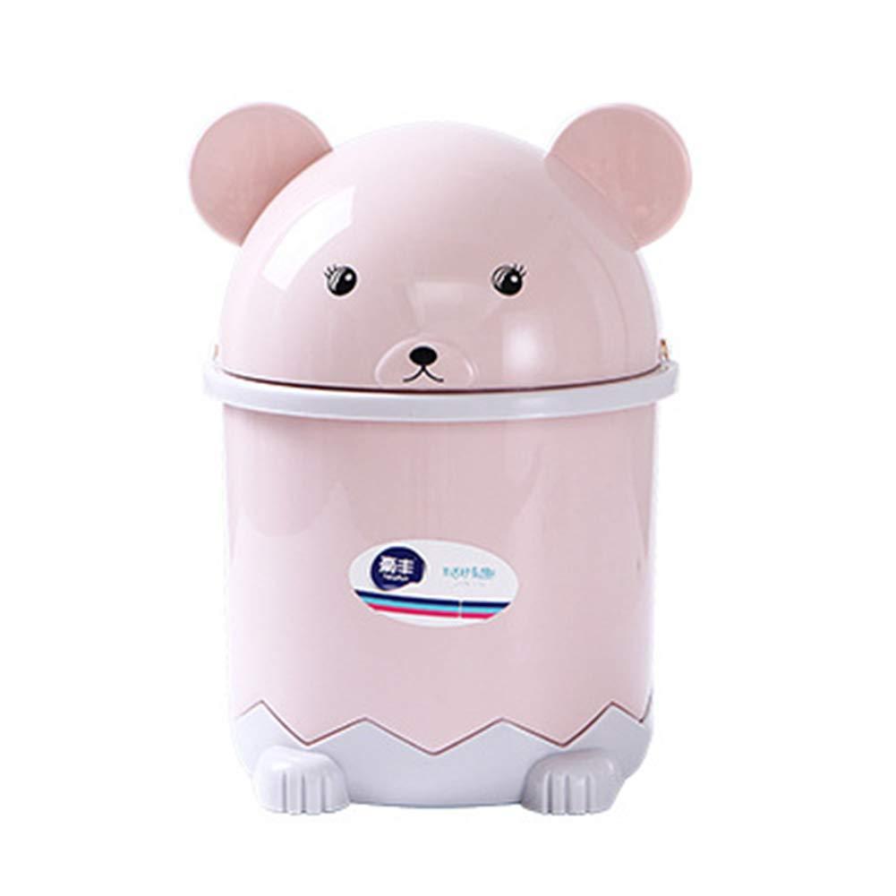 Topdo 3 Colors Cute Desktop Trash Can Plastic Mini Bear-Shape Tiny Countertop Trash Bin Can Rubbish Bin with Swing Lid-Pink(14cm21cm)
