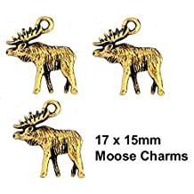 PlanetZia 6pcs Moose Charms Charms for Jewelry Making TVT- S382 (Antique Gold)