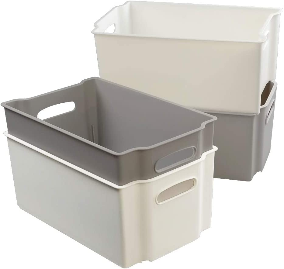 Joycky Mediano caja de Almacenamiento Plástico, Cajas Apilables sin Tapa, 4 Unidades, Blanco, Gris: Amazon.es: Hogar
