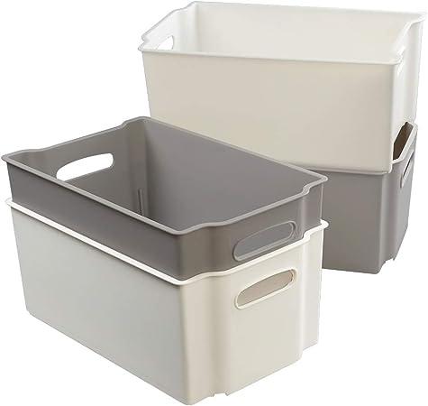 Joycky Mediano caja de Almacenamiento Plástico, Cajas Apilables ...