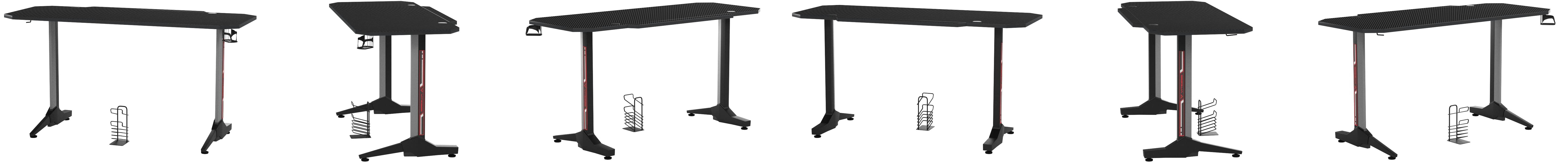 Vitesse 55 Inch Gaming Desk Racing Style Computer Desk With Free Mouse Pad T Shaped Professional Gamer Game Station With Usb Gaming Handle Rack Cup Holder Headphone Hook Black Amazon Ca Home