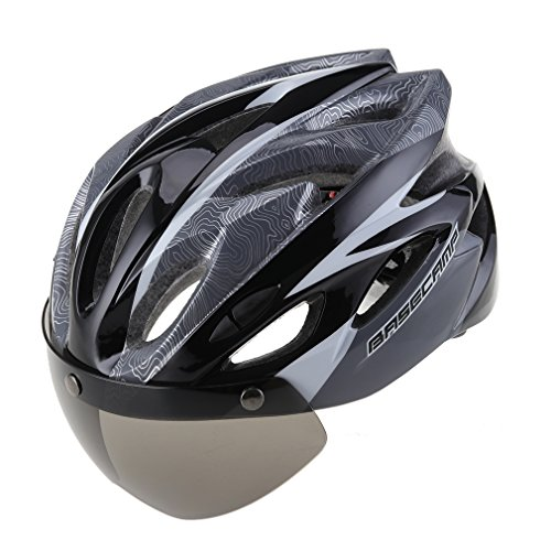 (Cycling Bike Hel met with Detachable Magnetic Visor Face Shield for Men (Black))