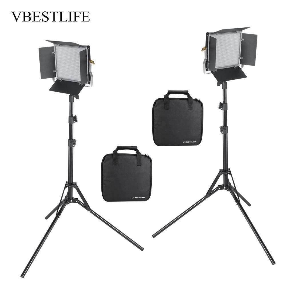 ビデオライト VBESTLIFE LED撮影 照明 カメラ ライト 大光量 8000ルーメン 3200-5600K色温度調整機能 バイカラーCRI95 +折りたたみスタンド付き 遮光板付き 撮影ライト(USプラグ)  USプラグ B07RY4HXVC