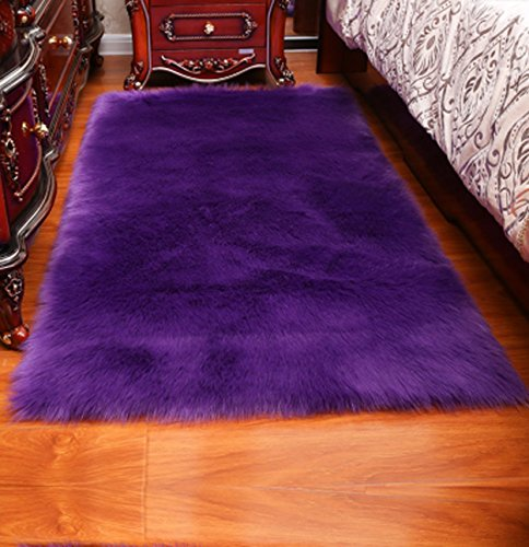 Luxury Soft Faux Sheepskin Fur Area Rugs,Small Faux Fur Rug for Bedroom Living Room Purple – 5x7ft