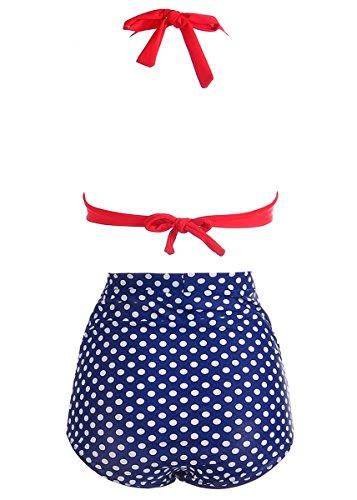 MissTalk Mujer Retro Cintura alta traje de baño Bikini Beachwear Ropa Playa Conjuntos Rojo