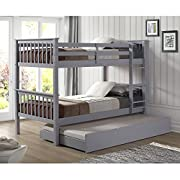 WE Furniture Solid Wood Twin Bunk Bed with Trundle Bed - Gray
