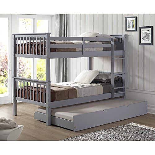 WE Furniture Solid Wood Twin Bunk Bed with Trundle Bed - ()