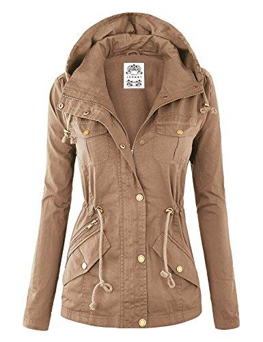 Made By Johnny WJC643 Womens Pop of Color Parka Jacket XL Khaki