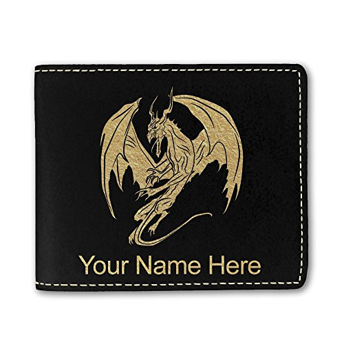 Black Dragon Wallet - Faux Leather Wallet, Dragon, Personalized Engraving Included (Black)
