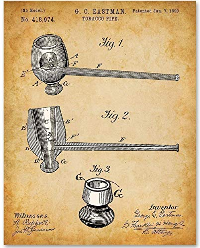 (Tobacco Pipe - 11x14 Unframed Patent Print - Great Gift for Tobacco Lovers or Man Cave Decor)