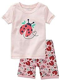 """Babylike """"ladybug"""" little girls shorts 2 Piece Pajama 100% Cotton(size:2-7 years)"""
