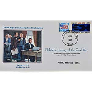 1992 Jan 1 Philatelic History of Civil War Lincoln Signs Emancipation Proclamation Stamp Issued 08/16/1963 Collectible