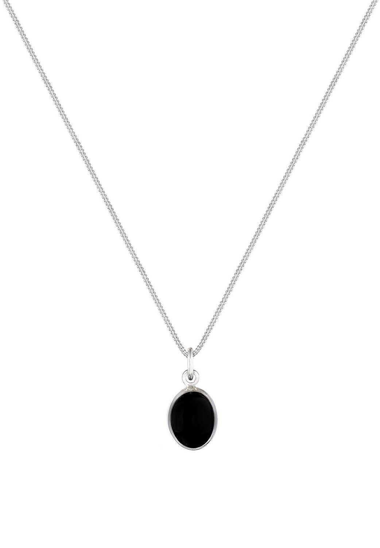 Elli Women Genuine Jewellery Necklaces Pendant Neckwear Gemstone Basic 925 Sterling Silver Onyx Black Length 45 cm wVWLyRnJ