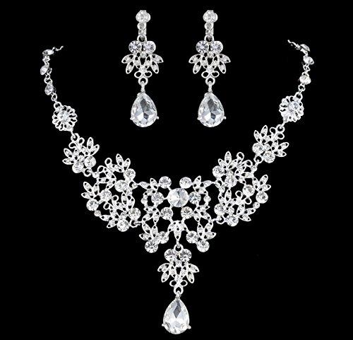 Leegoal Women's Wedding Jewellery Sets Fashion Bride Earrings & Pendant Necklace
