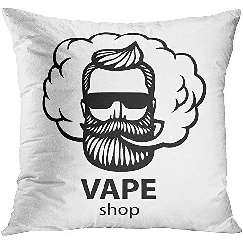 Throw Pillow Cover White Hipster Dude with Mustache and Beard Man with Vape and Cloud Electronic Cigarette Stickers Emblem Decorative Pillow Case Home Decor Square 18x18 Inches Pillowcase (White Cloud Electronic Cigarette)