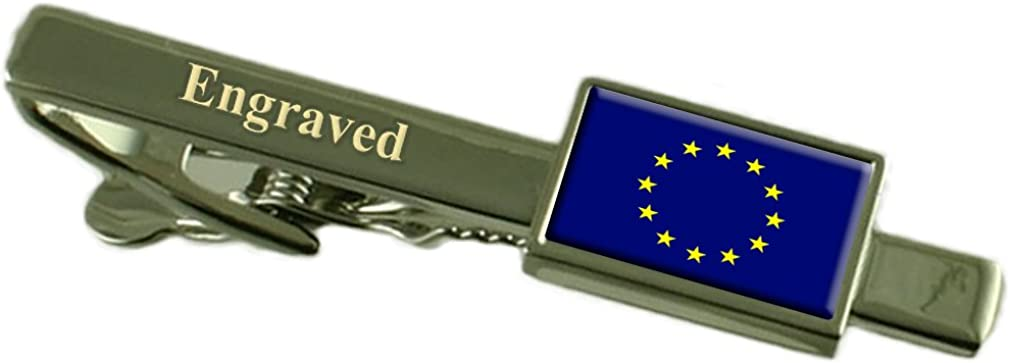 European Union Flag Engraved Personalised Tie Clip