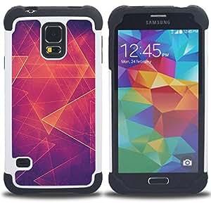 """SAMSUNG Galaxy S5 V / i9600 / SM-G900 - 3 en 1 impreso colorido de Altas Prestaciones PC Funda chaqueta Negro cubierta gel silicona suave (Fuego Polígono patrón Arte Místico Resumen"""")"""