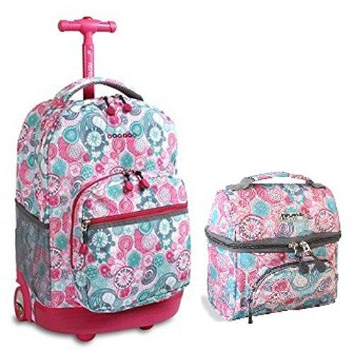J World Combo Rolling Backpack Lunch Bag Back to School Bundle Set Sunrise Corey