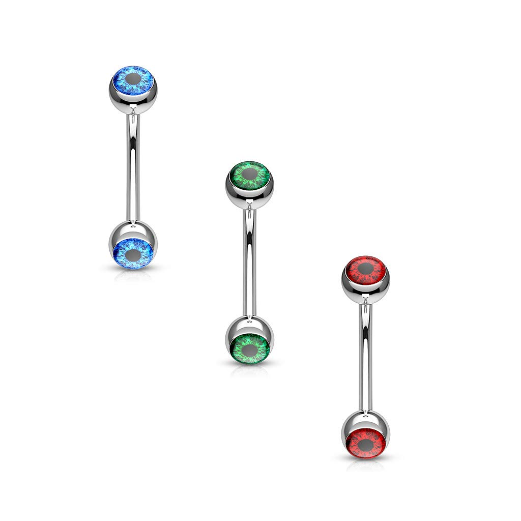 Dynamique Eyeball Inlaid 316L Surgical Steel Curved Barbells for Eyebrow and More Sold Per Piece