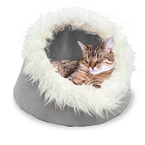 FurHaven Pet Cat Bed | Cat Cave Pet Bed, Tarnished Silver, 18-inch Base ()