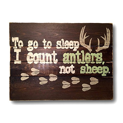 Antler Wall Plaque - PotteLove To Go To Sleep I Count Antlers, Not Sheep Wood Sign/Nursery Wall Hanging