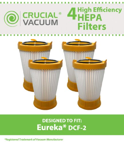 4 Style DCF-2 Filters for Eureka Victory/Whirlwind Series Vacuums, models 4680-4689; Compare to Eureka Part Nos. 61805, 61805A, 61805-4, 70855-33n; Designed & Engineered by Think Crucial