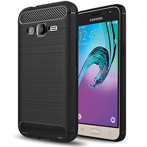 Galaxy Express Prime Case, Galaxy J3 2016 Case, Galaxy J3 V/Sky/Amp Prime/Sol Case,AnoKe Ultra[Slim Thin] Shock Absorption Scratch Resistant Soft TPU Grip Protective Cases for Samsung J3 HWLS Black