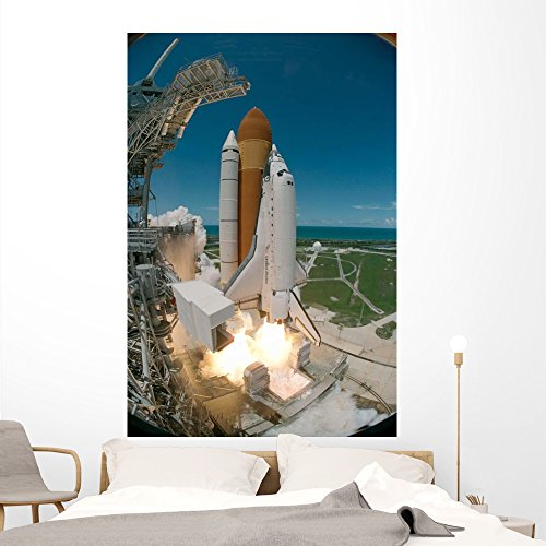 Space Shuttle Discovery Wall Mural by Wallmonkeys Peel and Stick Outer Space Graphic (72 in H x 48 in W) WM132393