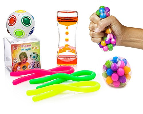 VITAL TOYS Fidget Toys 8 Pack Includes DNA Balls,Liquid Motion Timer,Magic Ball,Stretchy Strings & Flippy Chain/Autism Toys/Sensory Toys for Autistic Children/Fidget Bundle/Fidgets for Classroom by VITAL TOYS