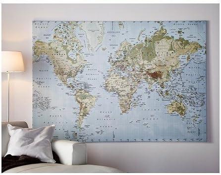 Weltkarte Ikea Bild Auf Bedrucktem Stoff 200x140 Cm In Essen