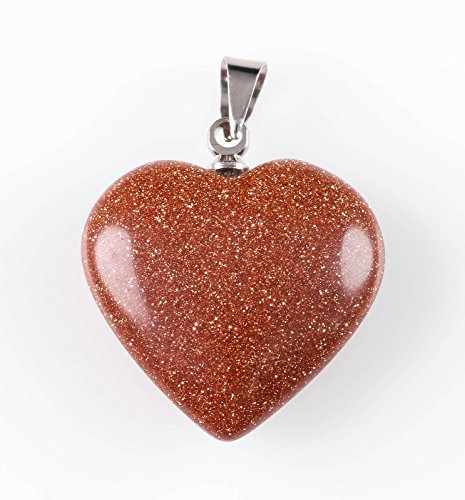 - ThrowinStones Goldstone Heart Pendant - One Small Red Crystal Pendant, Goldstone Pendant, Goldstone Jewelry, Goldstone Heart Necklace E0662