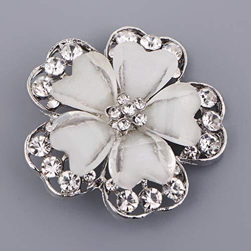 White Flower Alloy Rhinestone Button Decorative Button Sewing Supplies 38mm