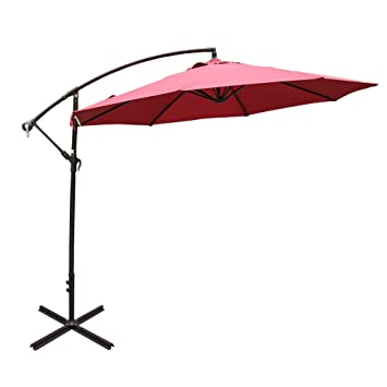 96f4bfde3b Sundale Outdoor 10FT Offset Umbrella Cantilever Umbrella Hanging Patio  Umbrella with Crank and Cross Bar Set, Steel Ribs, Polyester Canopy Shade  for ...